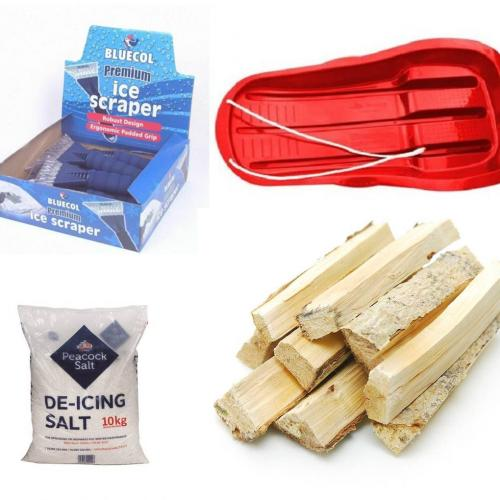 Salt, de-icer, winter fuels, shovels, sledges & more...